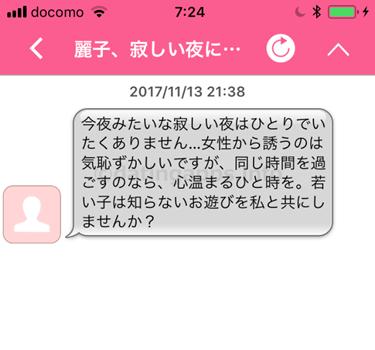 ハッピーチャットのサクラ「麗子、寂しい夜には...」からのメール