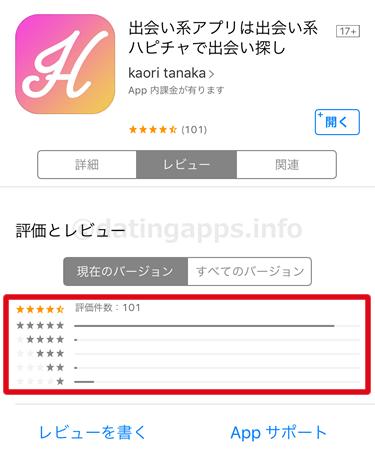 App Store に投稿されている ハピチャ のレビューのまとめ