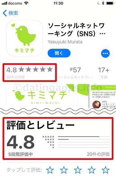App Store に投稿されている キミマチ のレビューのまとめ