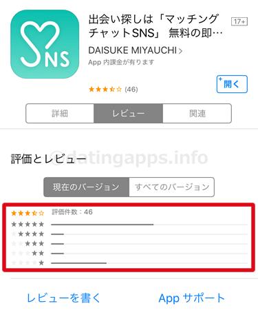 App Store に投稿されているマッチングチャット SNS のレビューのまとめ