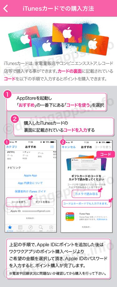 iTunes カードでのポイント購入方法